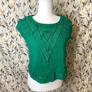 Anthropologie Skies are Blue green blouse size SP